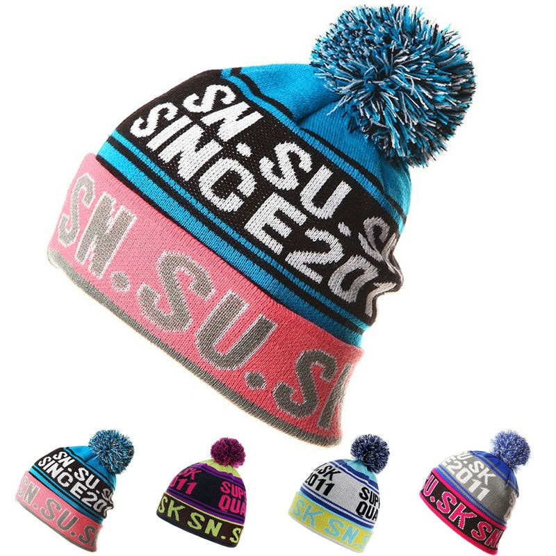 2016 NEW Skiing Hats for Men Women Warm Winter Knitting Skating Skull Cap Hat Beanies Turtleneck Caps Ski Cap Snowboard Hat