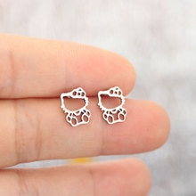 Everfast 1Pair Cute Stainless Steel Cats Earrings Hollowed Kitty Cat Pendant Kids Girls Birthday Tin