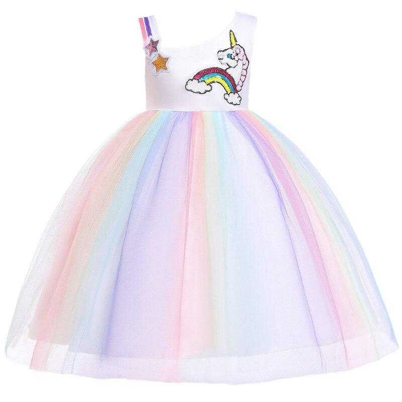 ¡Novedad de 2019! vestido de Unicornio arcoíris para niñas, vestido de fiesta de princesa para niños, Vestidos de Unicornio para Halloween para bebés, Vestidos para niñas