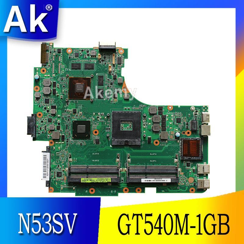 Placa base de ordenador portátil AK N53SV para ASUS N53SV N53SN N53SM N53S N53, placa base original de prueba, GT540M-1GB