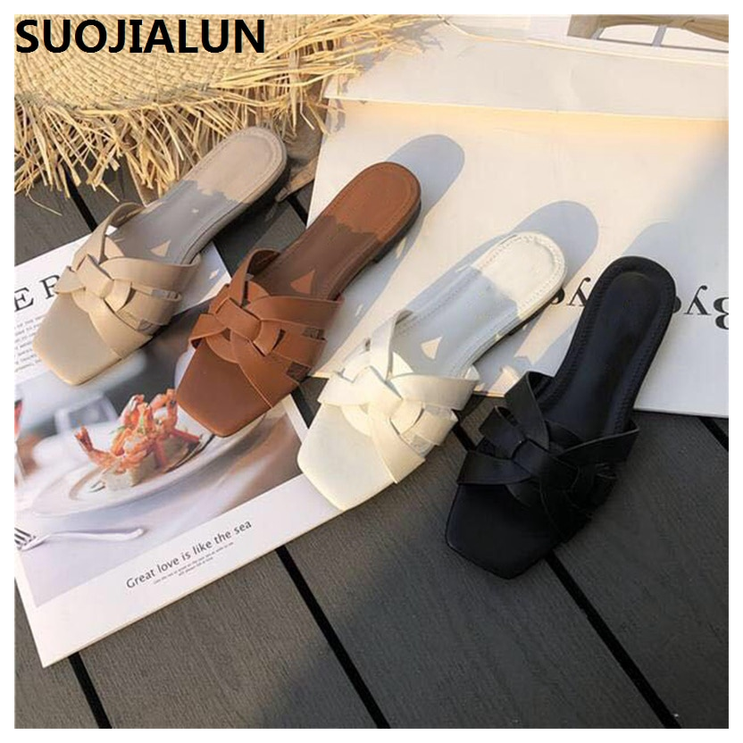 SUOJIALUN 2019 New Brand Summer Slippers Women Shoes Beach Flip Flops Casual Outdoor Slip on Sandals Pumps