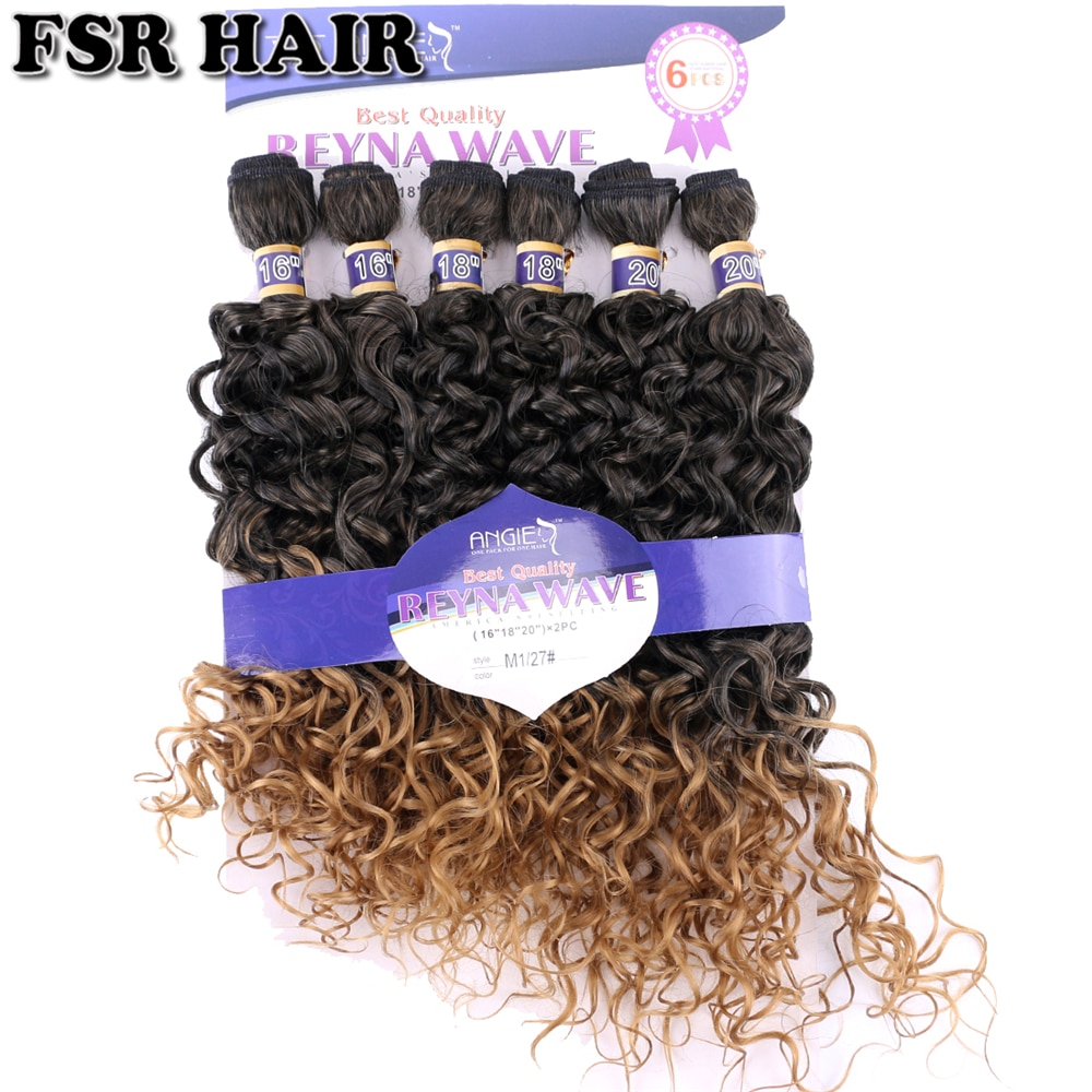 Negro De Oro dos tonos Ombre rizado armadura del mechones 16 18 20 pulgadas 6 unids/set resistente al calor sintético extensiones de cabello para mujeres