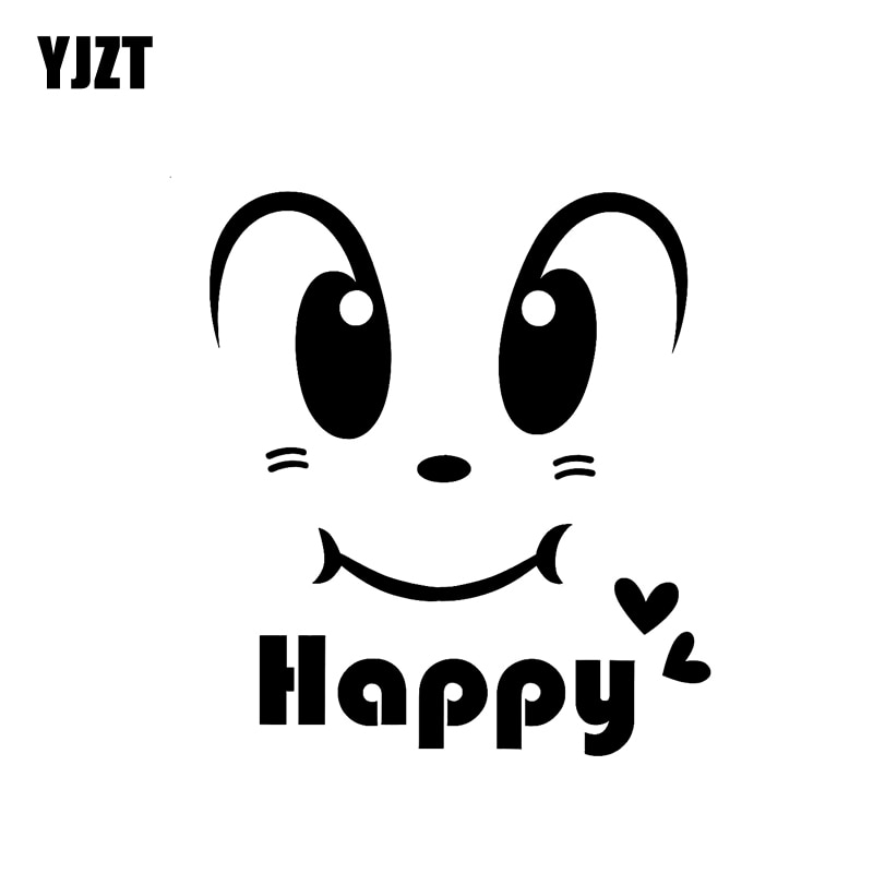 YJZT 12 CM * 13,5 CM cara feliz Smily coche pegatina de vinilo impermeable negro/plata C3-0474
