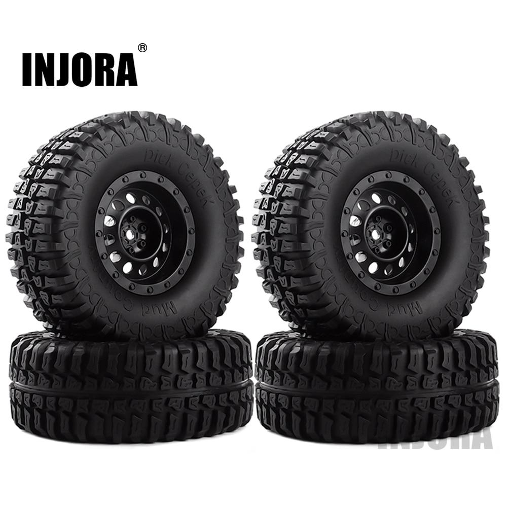 """INJORA 4Pcs Plastic 1.9"""" Wheel Rim Tires Set for 1/10 RC Crawler Car Axial SCX10 90046 Tamiya CC01 D90 D110"""