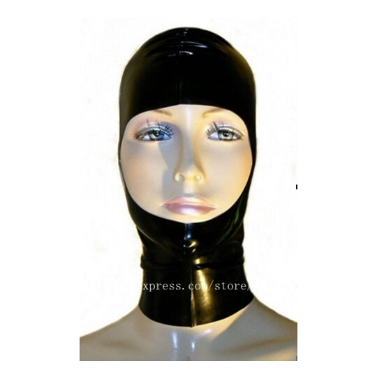 Capucha de látex de goma negra sexi para mujer, capucha de látex Natural puro con cremallera
