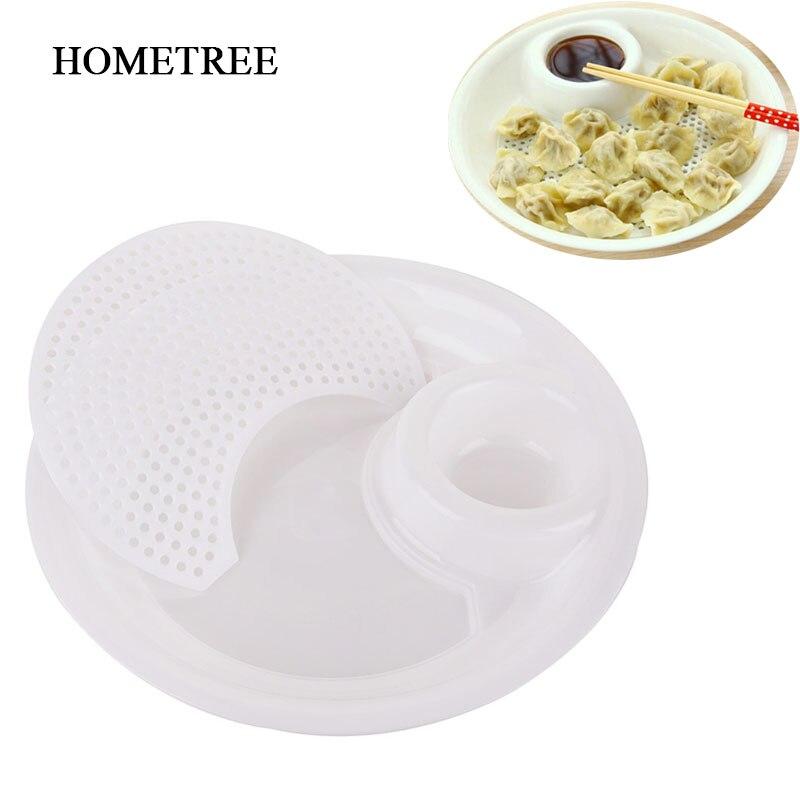 HOMETREE vajilla creativa forma redonda Dumplings bandeja plato de especias plástico PP drenaje agua aceite fruta contenedor H640