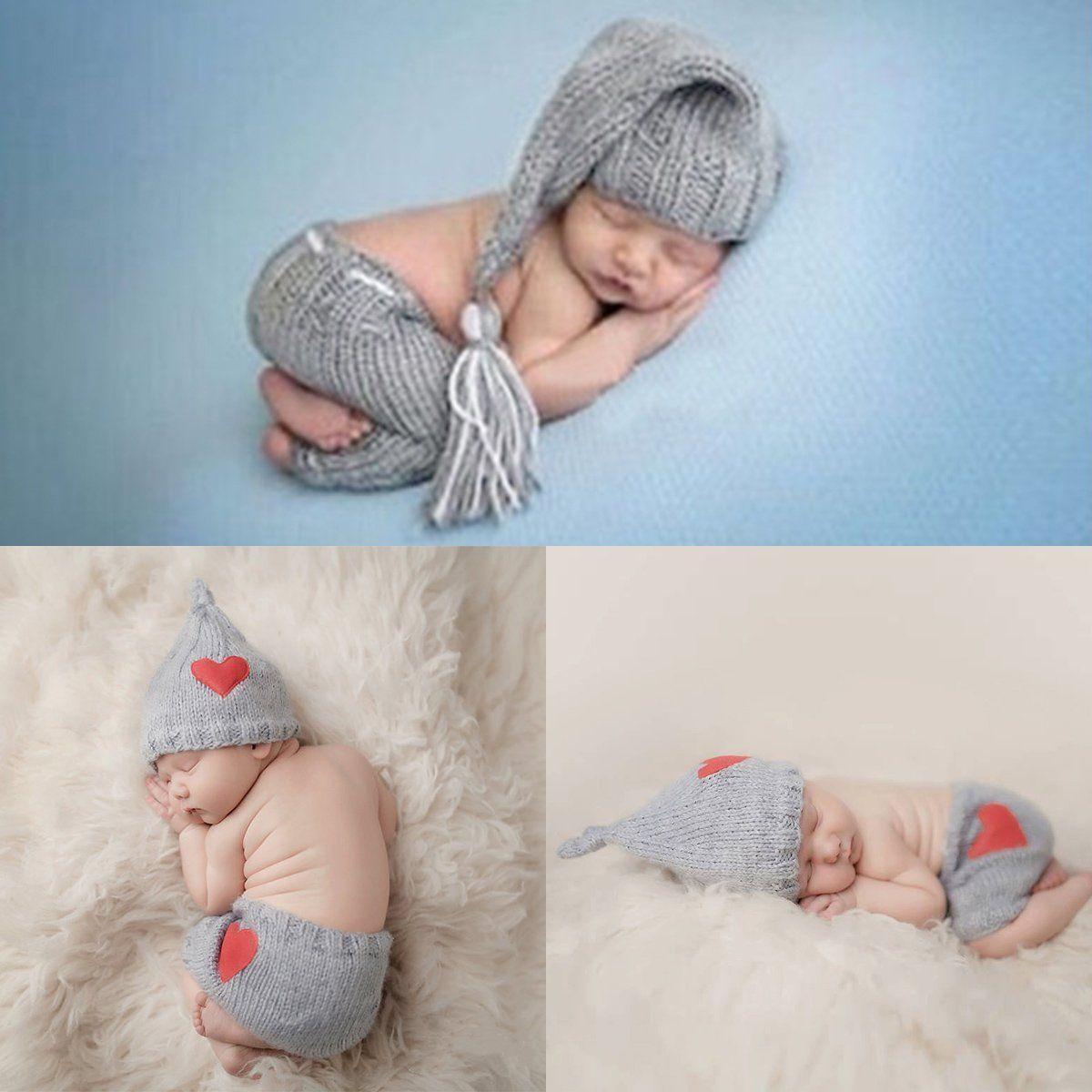 Recién Nacido bebé gorro de ganchillo sombrero amor gorra con corazón + Pantalones cortos fotografía Prop trajes