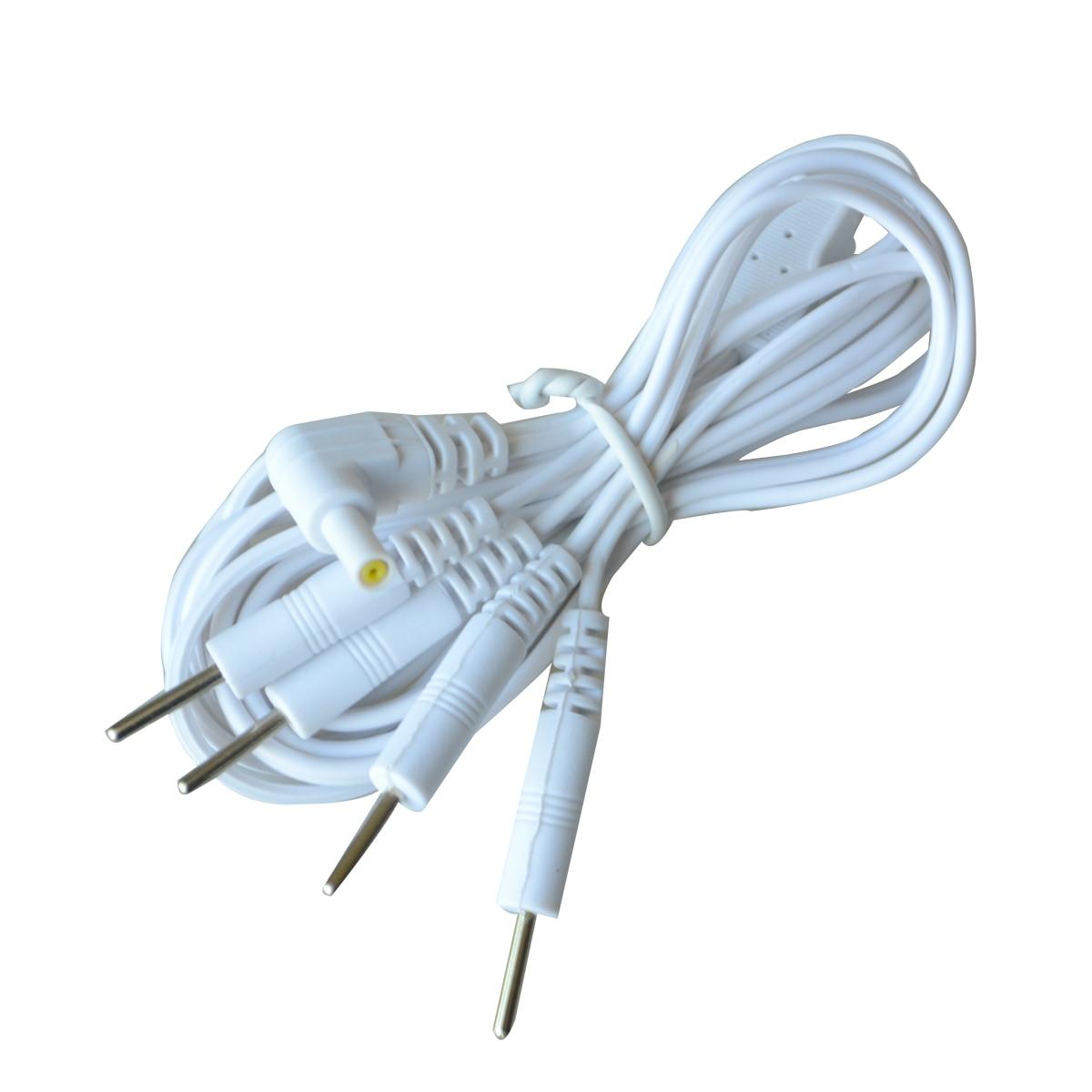 5 pcs substituição eletrodo chumbo fios padrão pinos cabos de conexão para dezenas ems padrão conector 2.35mm 4 em 1 massagem ferramentas