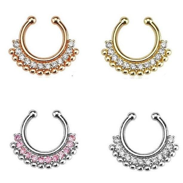 10 Uds venta al por mayor Rosa perforación dorada aros y pernos para nariz austríaco anillo de la nariz de cristal falso tabique para punk joyas para el cuerpo Boho N0012