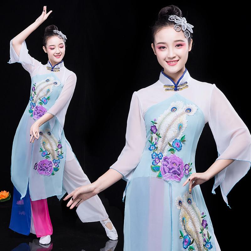Классические танцевальные костюмы ханьфу в китайском стиле, женские элегантные фанатские танцевальные костюмы, одежда Янко, традиционный ...
