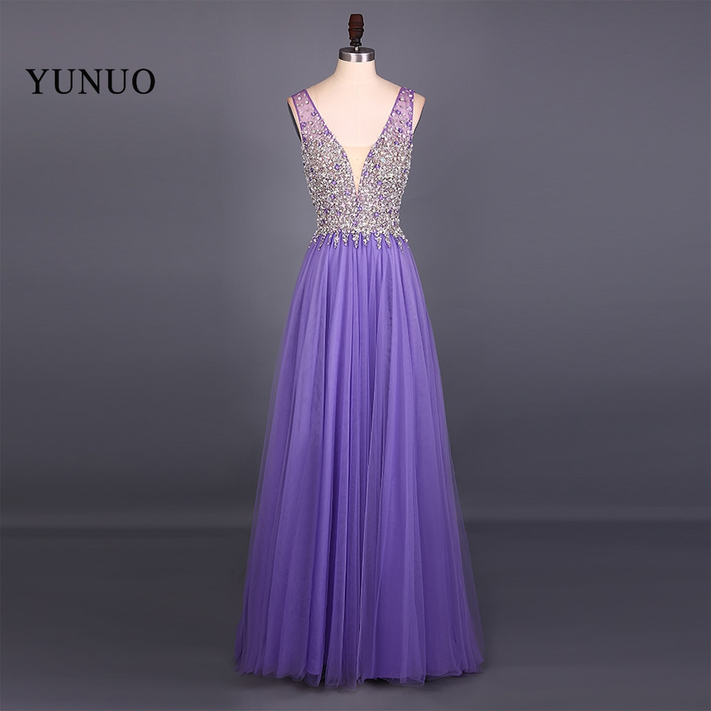 New Fashion Real Picture Tulle V Neck A Line Sleeveless Long Prom Dresses 2019 Backless Beading Floor Length Dress YN61507