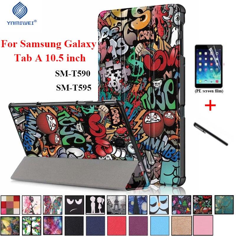 Funda inteligente magnética para Samsung Tab A 10,5 2018 T590 T595 T597 Funda de cuero PU con soporte para Samsung galaxy Tab A 10,5