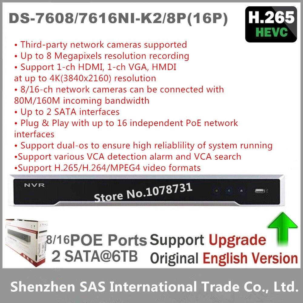 Hikvision DS-7604NI-K1/4 p DS-7608NI-K2/8 p DS-7616NI-K2/16 p 4 k nvr 1/2 sata com 4/8/16 portas poe incorporado plug & play h265 nvr