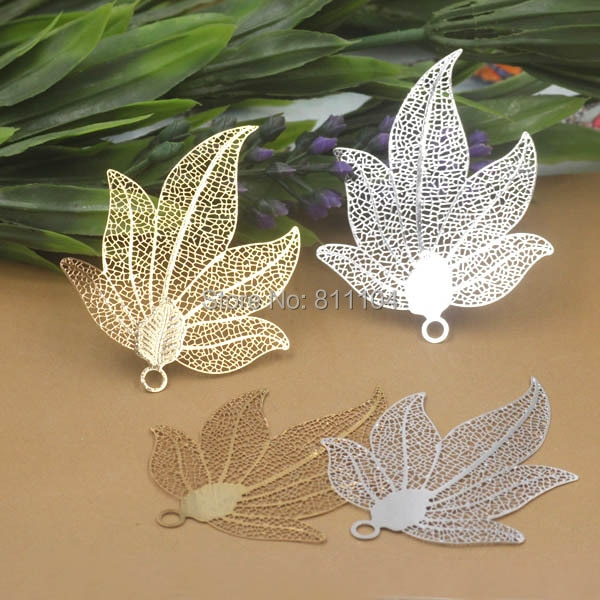 45x45mm Multi-color Plated Brass Metal Blank Filigree Vintage Maple Leaf Pendant Links Connectors Jewelry Findings Connectors