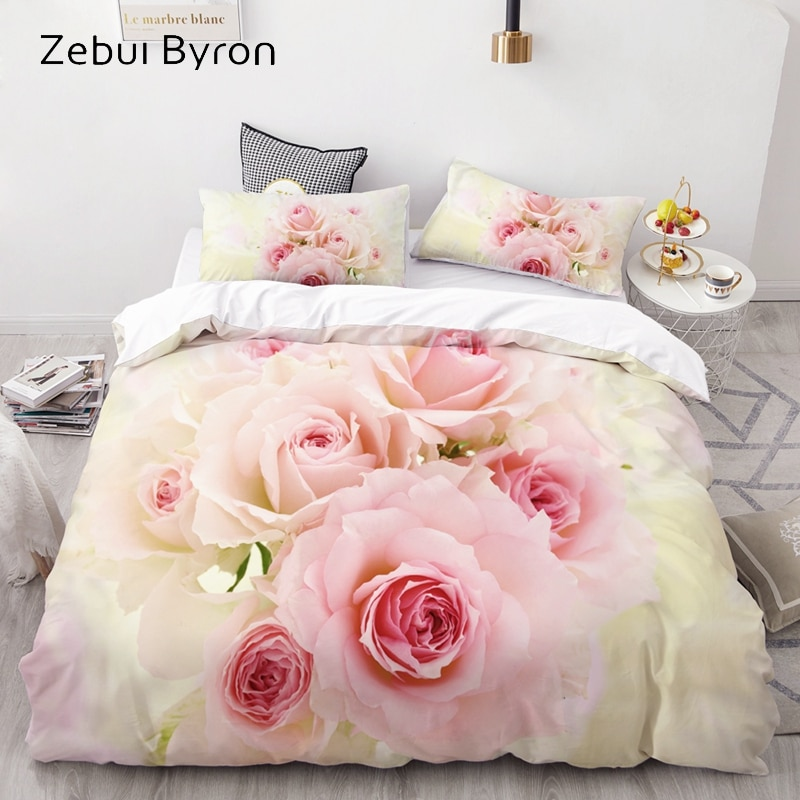 3D Bedding Set AU Custom/Europe,Duvet Cover Set USA Queen/King,Quilt/Blanket Cover Set,Bedclothes Wedding Rose,drop ship