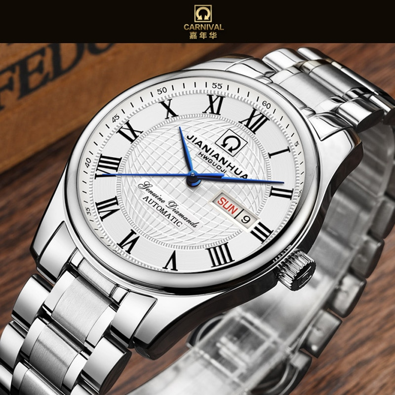 Relojes CARNIVAL, reloj mecánico automático para hombres, reloj de lujo para hombres, reloj masculino de acero inoxidable zafiro, reloj de pulsera para hombres 2
