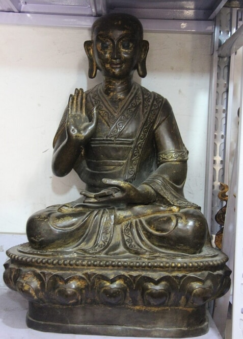 Fábrica de venta al por mayor 25 tibet, budismo clásico puro bronce cobre templo Dalai Lama monje estatua 25%