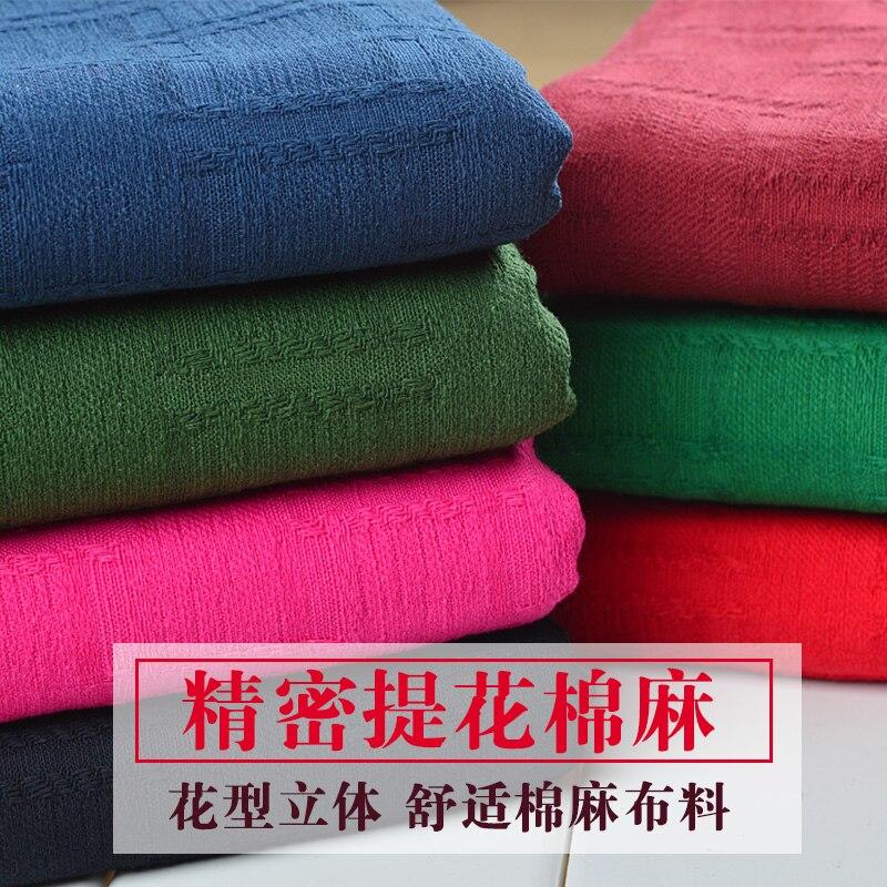 Jacquard de Material de cáñamo grueso de Color puro de algodón de bambú y lino vestido Han telas de ropa de tela de lino
