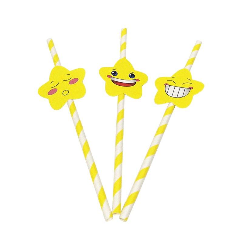 30/60 Uds. Pajitas mezcladas desechables de dibujos animados cara de estrella de mar pajillas de papel boda fiesta de cumpleaños decorativa suministros