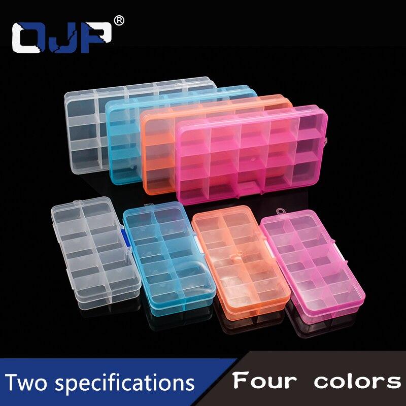 10/15Grids Plastic Box Adjustable Jewelry Box Beads Pills Nail Art Storage Box Organizer for office housekeeping organization