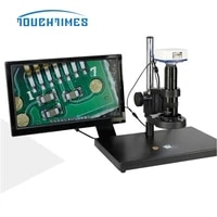 20x 200x video microscope camera industry lab pcb vga usb output video recorder led ring light with stand