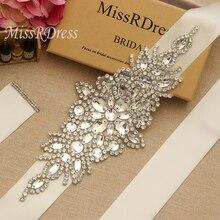MissRDress-Cinturón de boda hecho a mano con diamantes de imitación, faja nupcial de gran tamaño, cinturón de novia de cristal para vestidos largos de boda, JK855