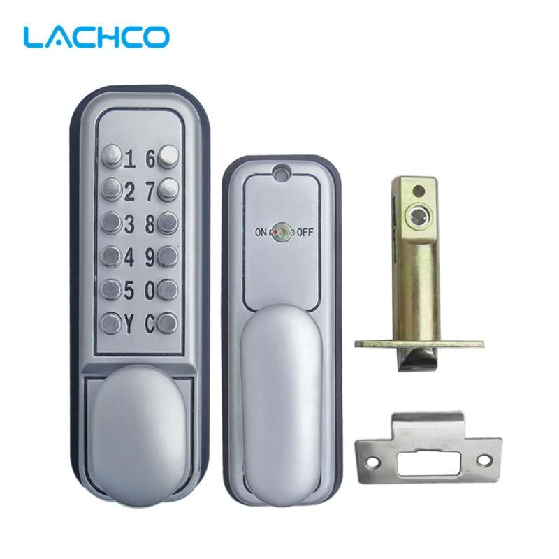 LACHCO الميكانيكية قفل برمز الرقمية ماكينات لوحة المفاتيح قفل للباب بكلمة مرور الفولاذ المقاوم للصدأ واحدة مزلاج الزنك سبائك الفضة L17007