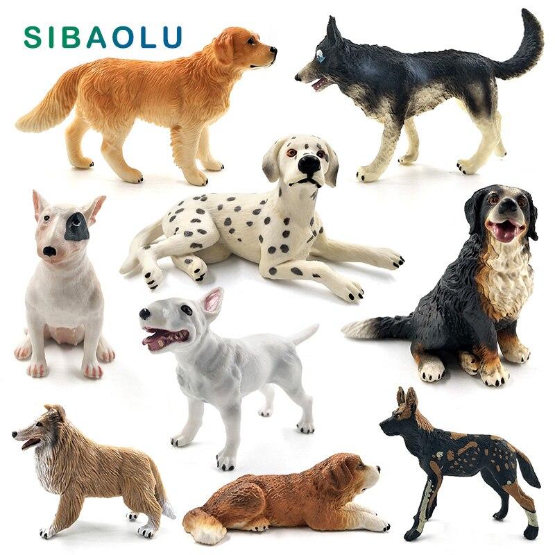 Dálmata Bulldog Bull Terrier Labrador husky Siberiano perro estatuilla/modelo de animal decoración del hogar Accesorios de decoración de jardín de hadas