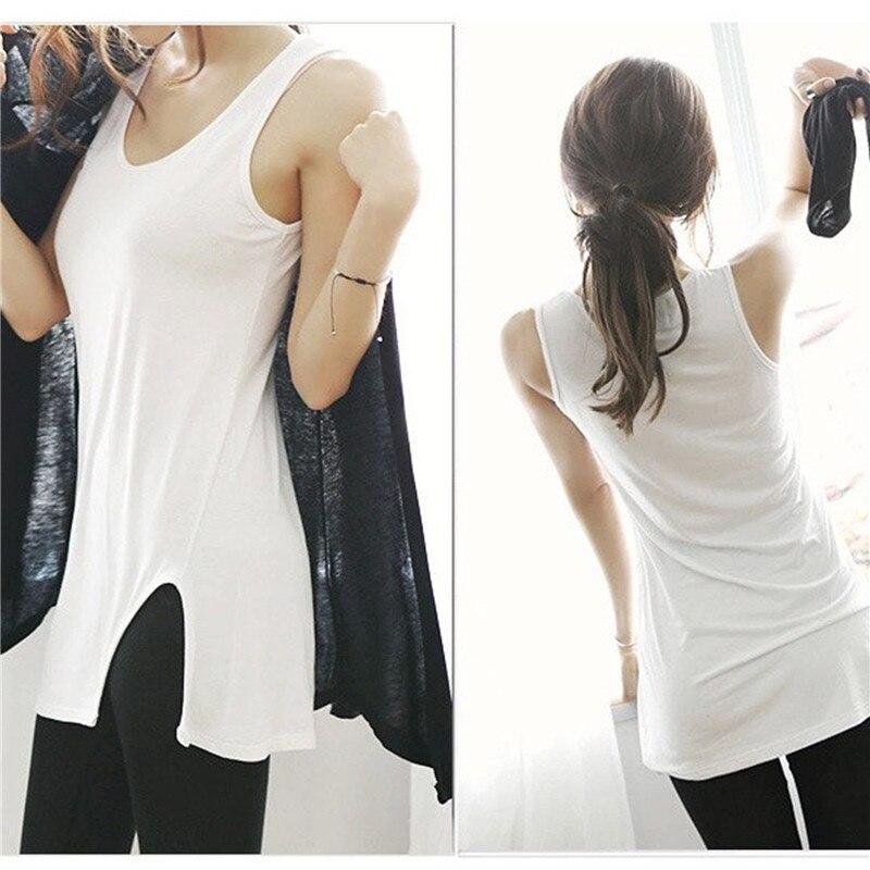 Camiseta sin mangas de verano para mujer, chaleco largo sin mangas con abertura lateral, camisa informal blanca/negra, Tops para mujer, HO868218