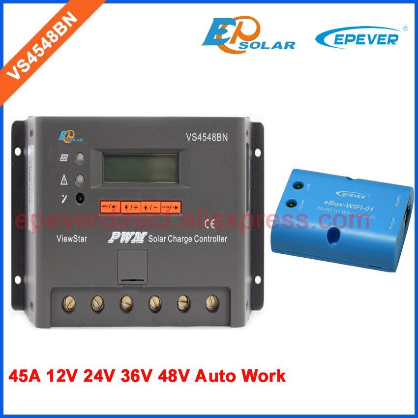 45A controlador EPEVER EPsolar productos VS4548BN 12 V/24 V/36 V/48 V batería interruptor automático portátil Solar regulador wifi eBOX adaptador