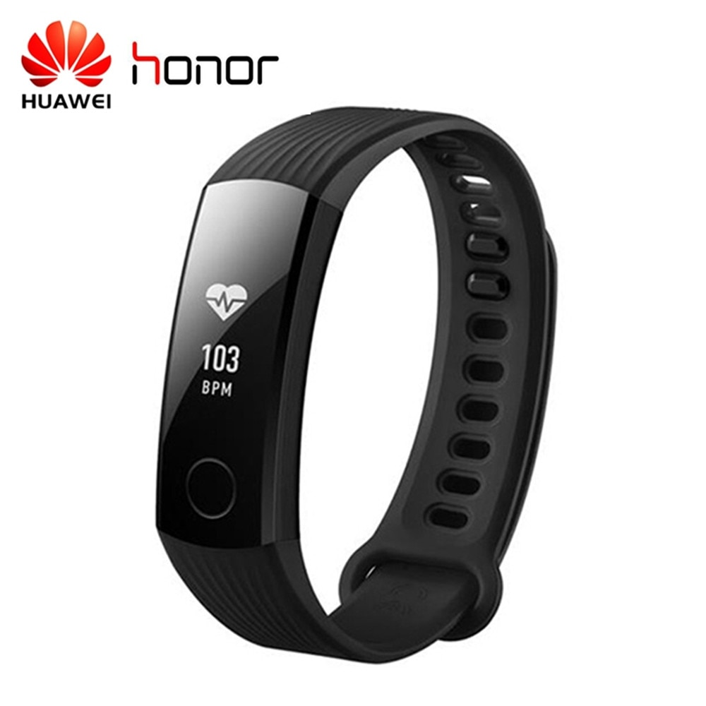 HUAWEI Original Honor Banda 3 pulsera inteligente con supervisión de frecuencia cardíaca calorías consumo podómetro inteligente pulsera 45 días de espera veces