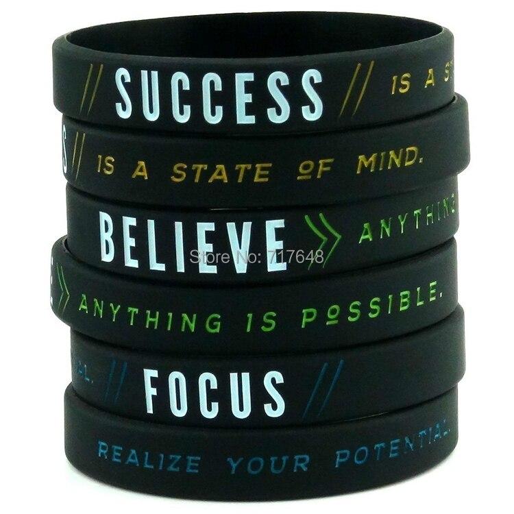 300 Uds éxito, enfoque y confianza pulsera motivacional pulseras de silicona envío gratis por FEDEX