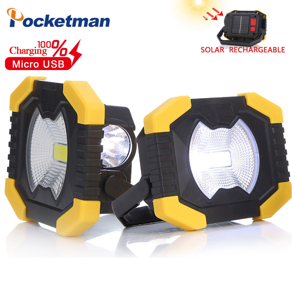 Portable COB LED Work Light Torch USB Rechargeable Flashlight Solar energy Light Built-in Battery Emergency Power Best Camping