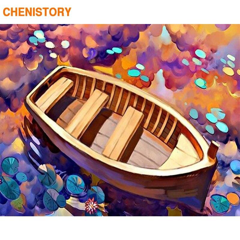 Cuadro CHENISTORY de Color con diseño de barco, pintura por números, pintura de paisaje, pintura de lienzo para decoración del hogar