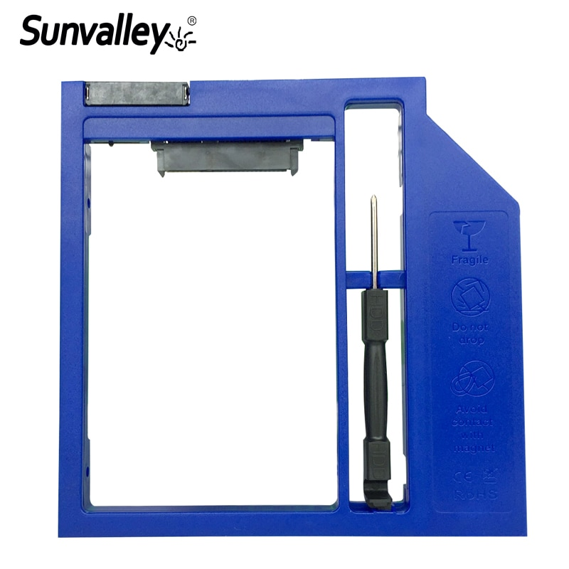 "Sunvalley 9mm/9,5mm 2nd HDD Caddy SATA III a SATA III 2,5 ""Cubierta para SSD y HDD Material plástico para DVD portátil/CD-ROM Bahía óptica"