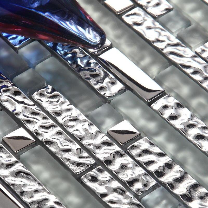 Tira gris plata metal mezclado vidrio mosaico azulejo para baño ducha pared cocina backsplash nuevo diseño