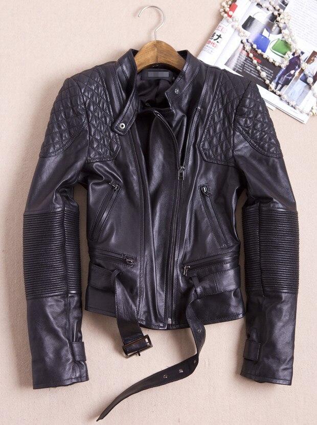 Chaqueta de piel auténtica para mujer, piel de oveja auténtica Punk Rock, chaqueta de cuero Real, chaqueta de motociclista con remaches, chaqueta de mujer