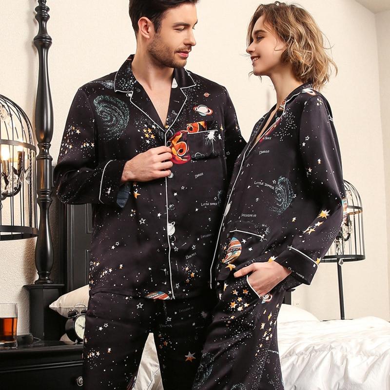 Настоящий шелк пижама женский летний длинный рукав шелкопряд шелк пара пижамы черный звездное небо мужской пижамы из двух частей комплекты T8197QL