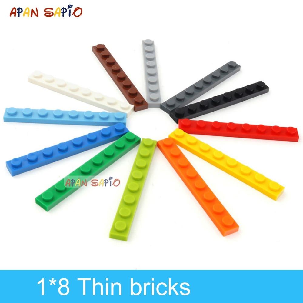 60 шт. строительные блоки «сделай сам» тонкие фигурки кирпичи 1x8 точек 12 видов цветов развивающие креативные размеры совместимы с 3460 игрушка...