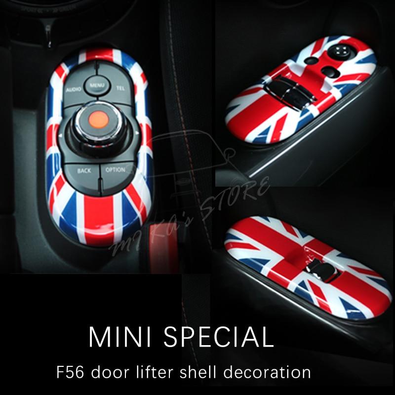 Para Mini Cooper puerta lateral Power Window Switch para panel de consola central cubiertas para 3rd Gen accesorios pegatinas de coche F56 3 puertas