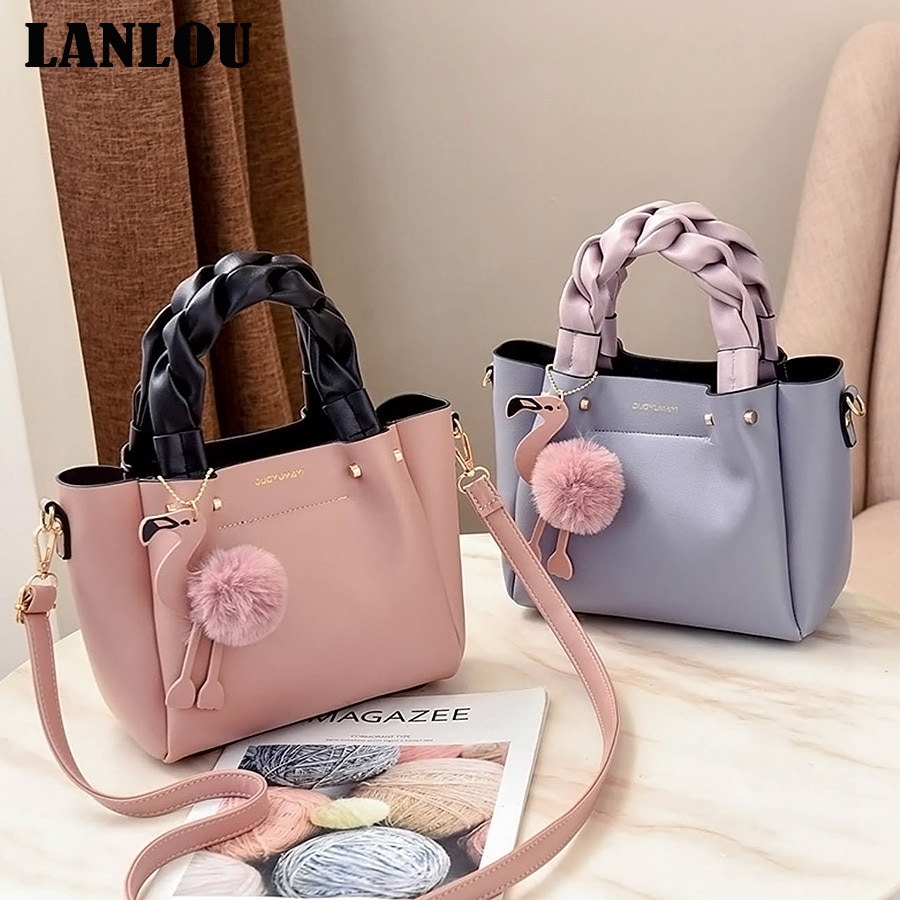 Женские сумки на плечо LANLOU, дизайнерские сумки через плечо с помпоном фламинго, 2019