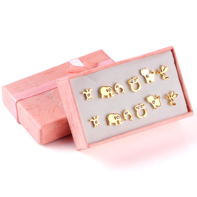 Серьги нержавеющей стали 6Pairs / Box для женщин Ювелирные изделия способа стерлингового серебра