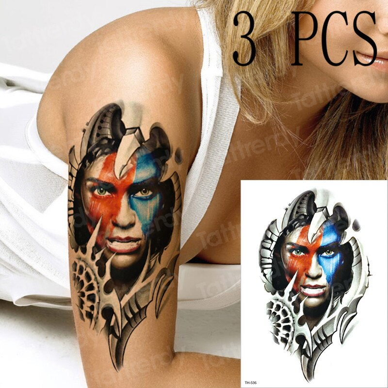 Tatuaje temporal indio salvaje, tatuajes mecánicos coloridos, máquina de manga robot, máquina de sexo, águila, mujeres 3 unidades por lote