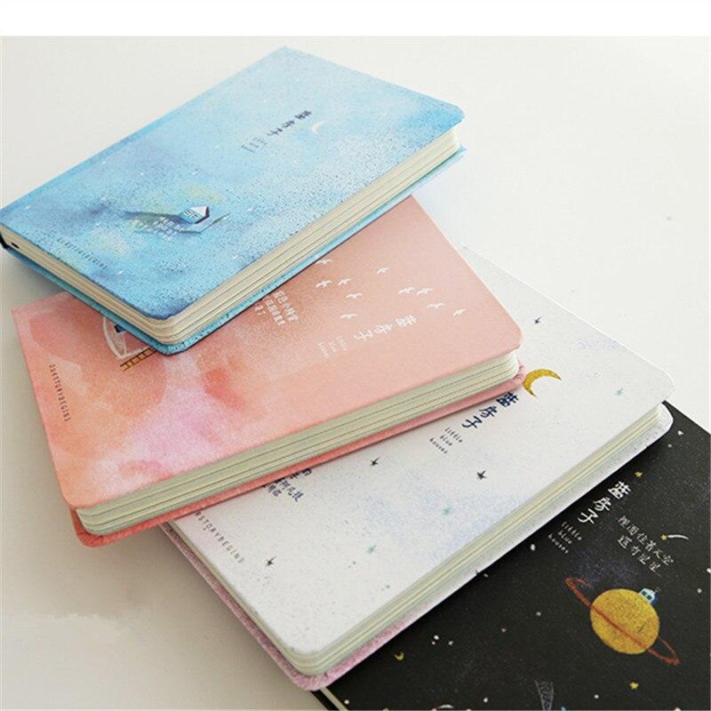 Diario Corea papelería creativa tendencia Color páginas A5 agenda libro Tapa dura útiles escolares pequeña casa azul