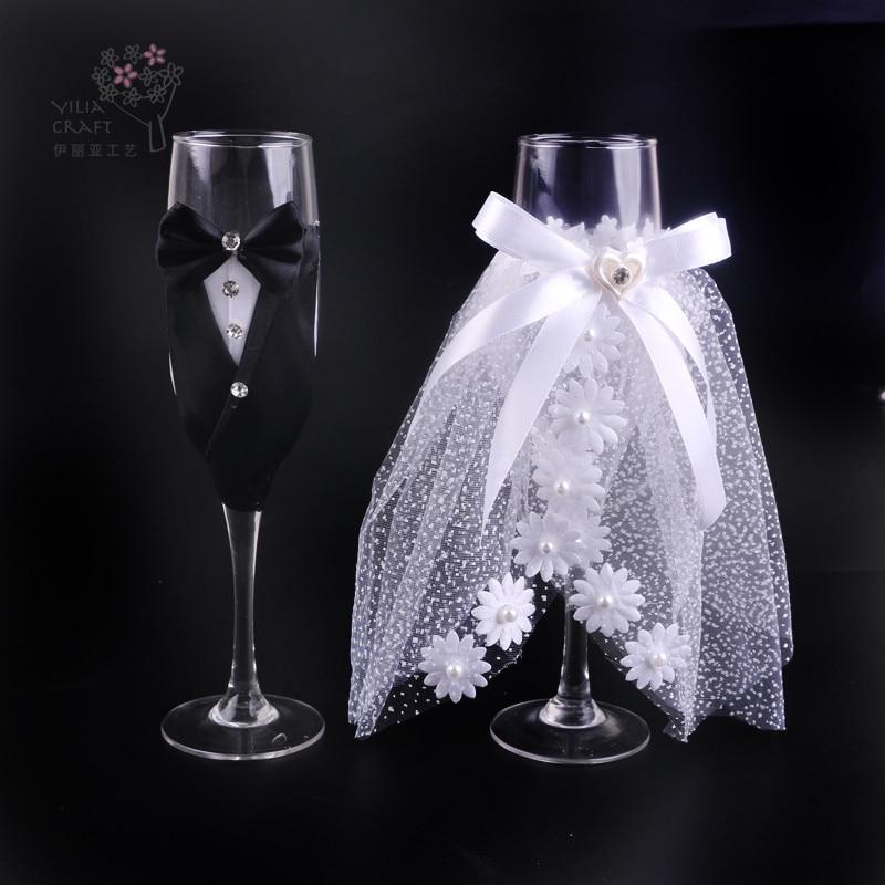 فستان دانتيل للعروس والعريس ، هدية إبداعية ، طقم أكواب شمبانيا للزفاف ، كأس تحميص ، ديكور منزلي للفنادق والزفاف