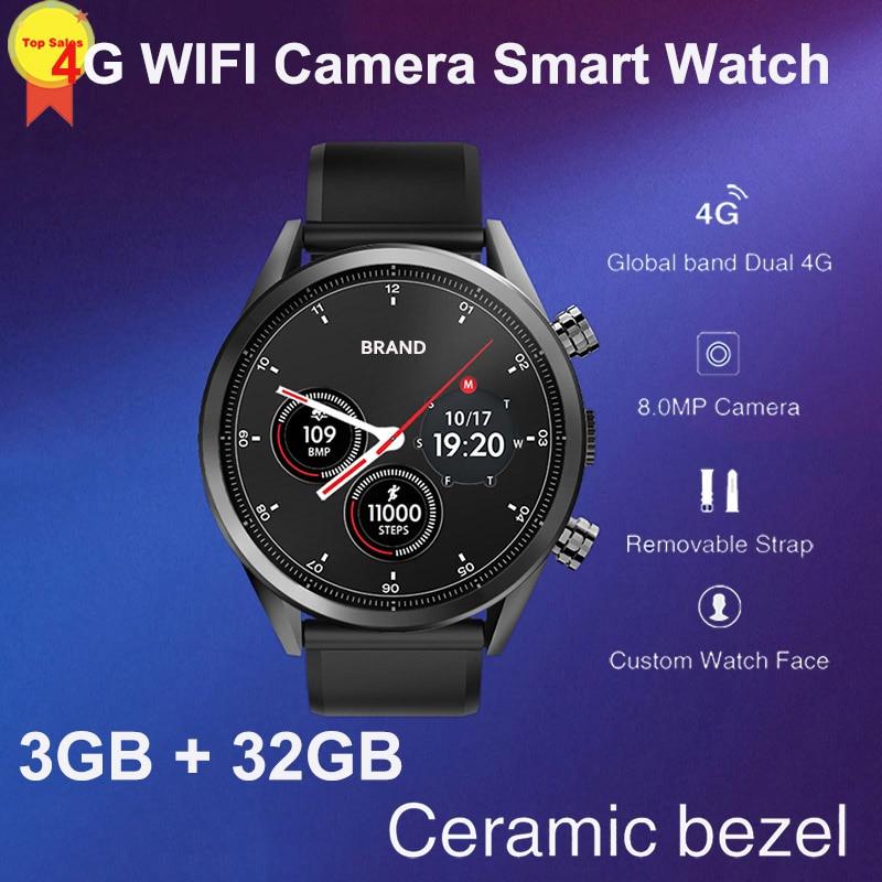 "Promo 8MP Camera quad core 3G+32G 1.39"" AMoled Smart Watch Men sim Card GPS google map 4G WIFI business Smartwatch luxury design 2019"