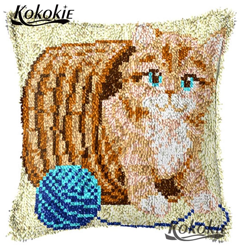 Latch haken katze gedruckt stickerei kissen kreuz stich kissen material für handwerk Häkeln Teppich Garn Patchwork Kissenbezug
