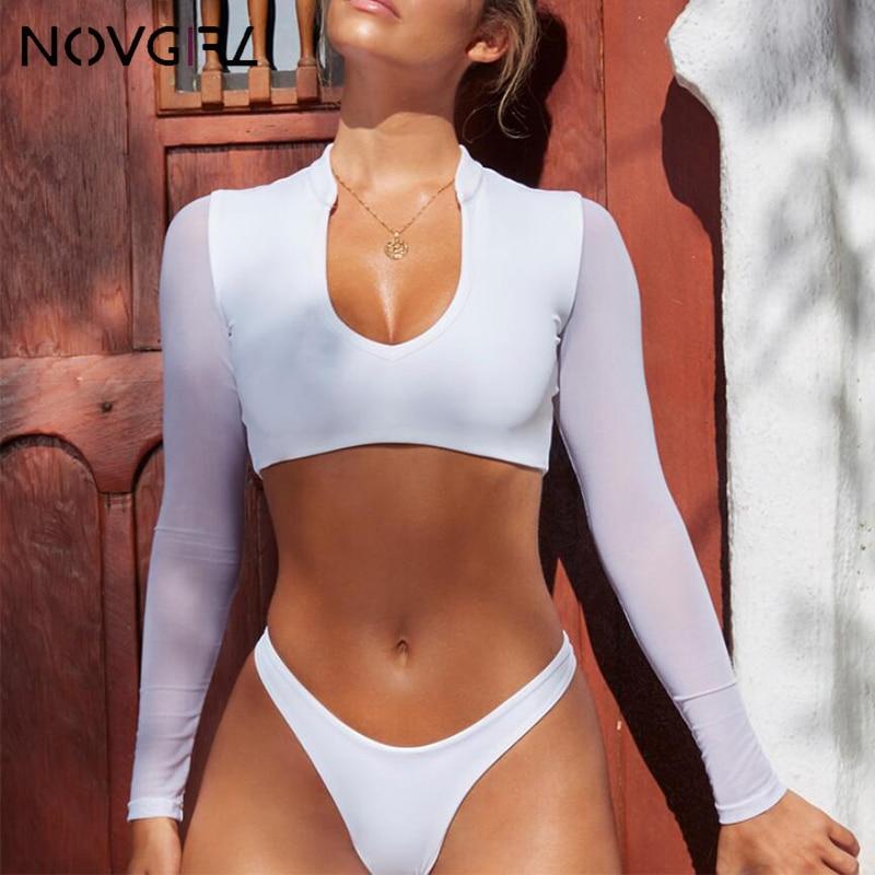 Conjunto de Bikini brasileño de manga larga con retazos de malla de Novgirl, traje de baño blanco de corte alto de verano 2019 para mujer, traje de baño Sexy con Micro Bikinis