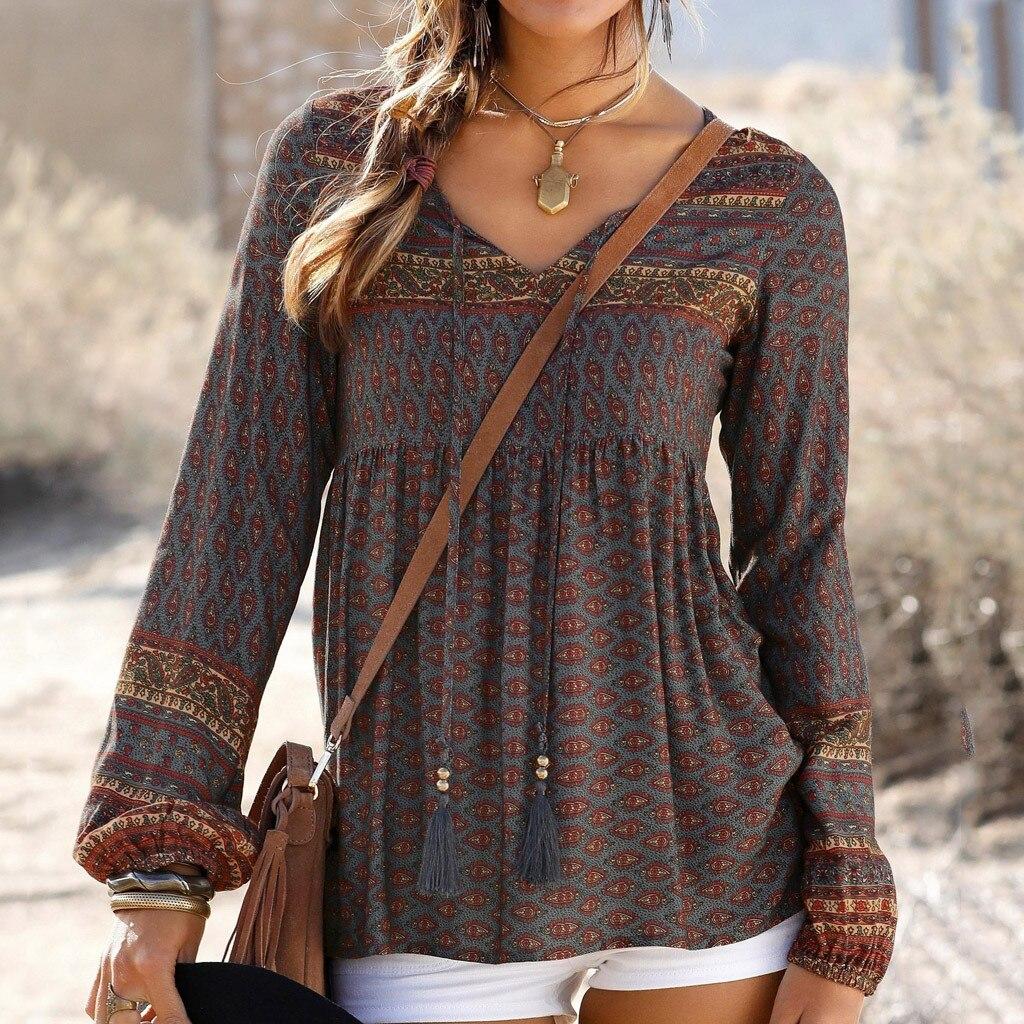 Long Sleeve Blouses Women Autumn Winter Bohemian Vintage Print Ladies Daily V Neck Blouses Shirts Women Tops Camisa Femenina