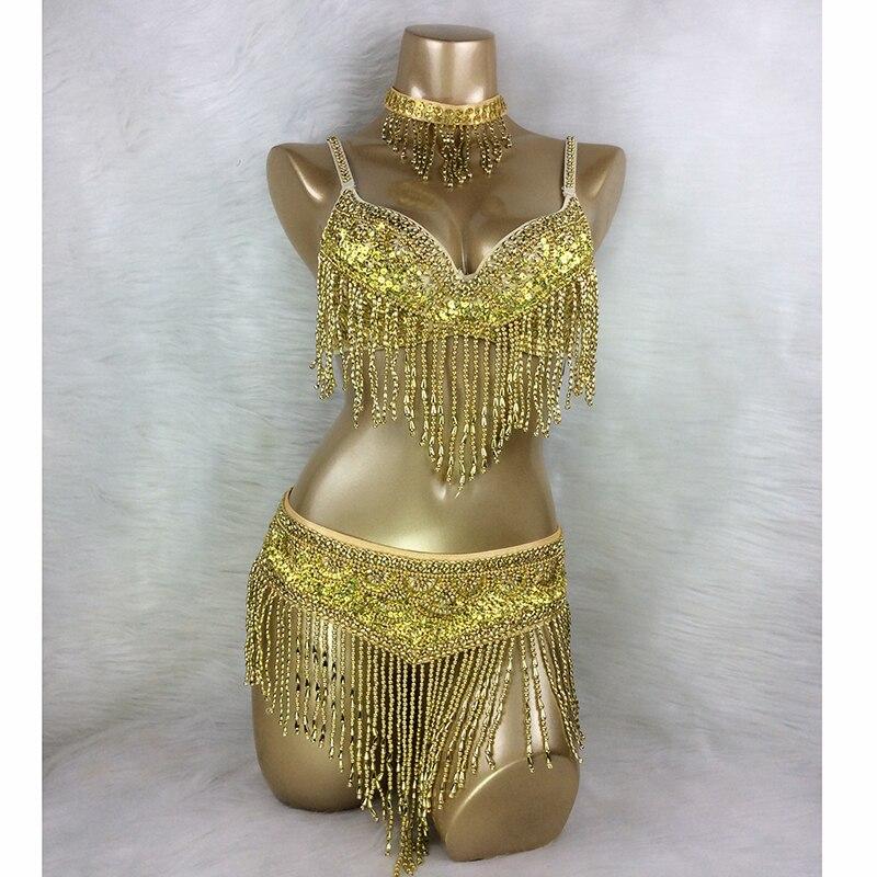 Новый женский комплект для танца живота, сексуальный карнавальный наряд, расшитый бисером, одежда для танца живота, сексуальные топы для но...